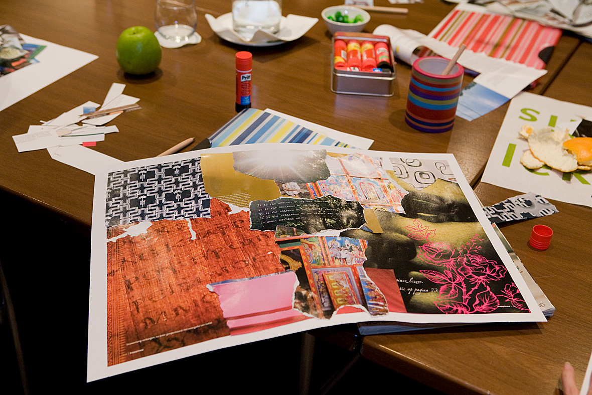 Sfeerimpressie van collage in workshop over kleur
